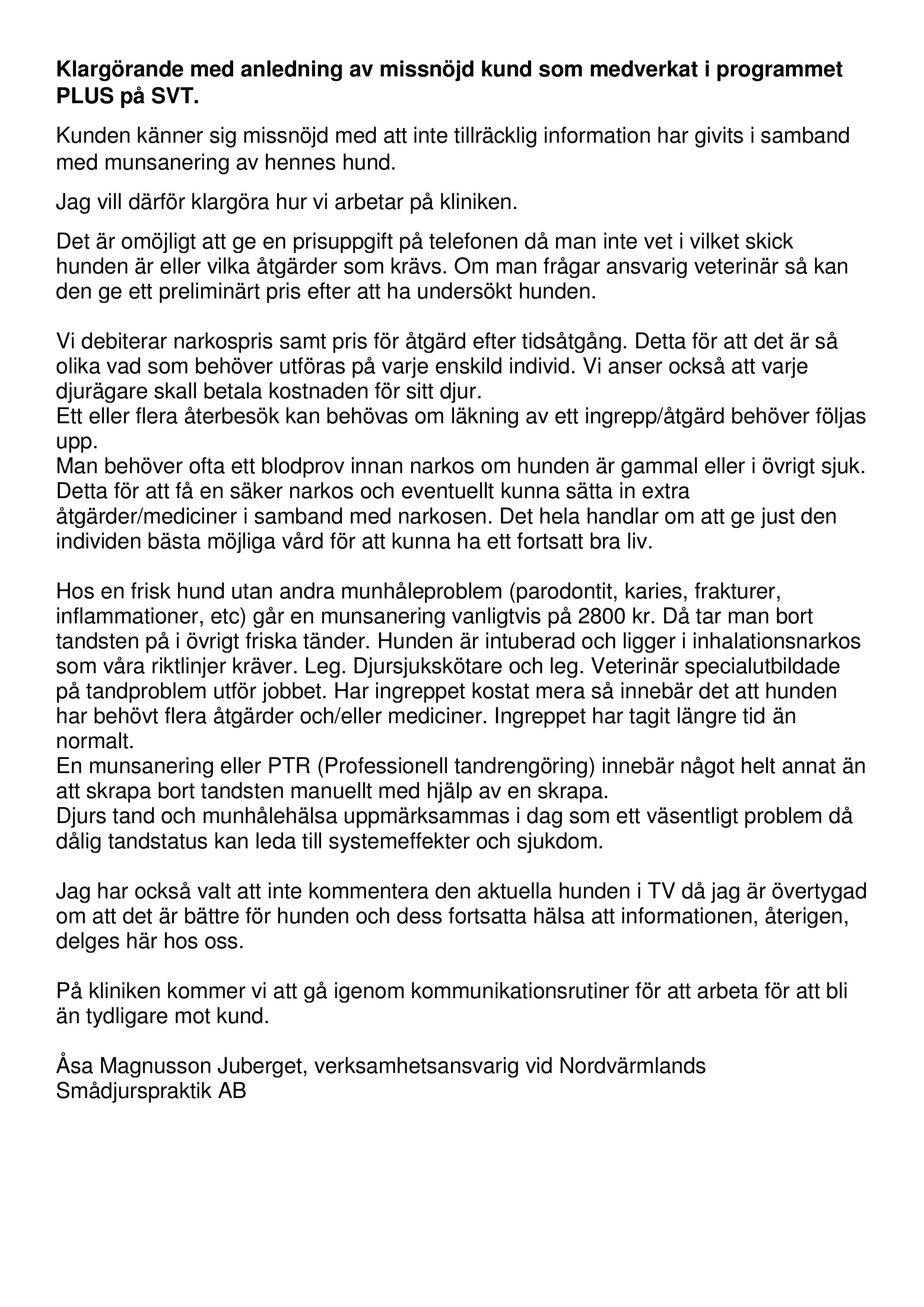Klargörande med anledning av missnöjd kund som medverkat i programmet PLUS på SVT-page-001